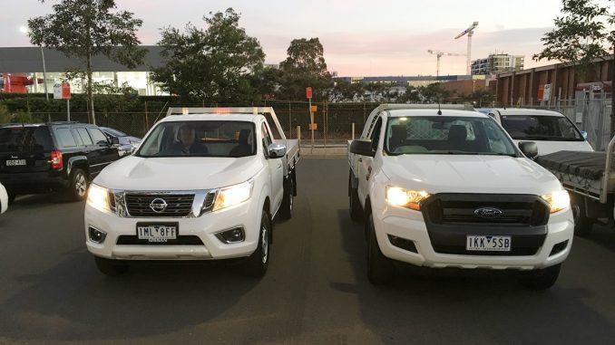Nissan Navara RX vs Ford Ranger XL front 1