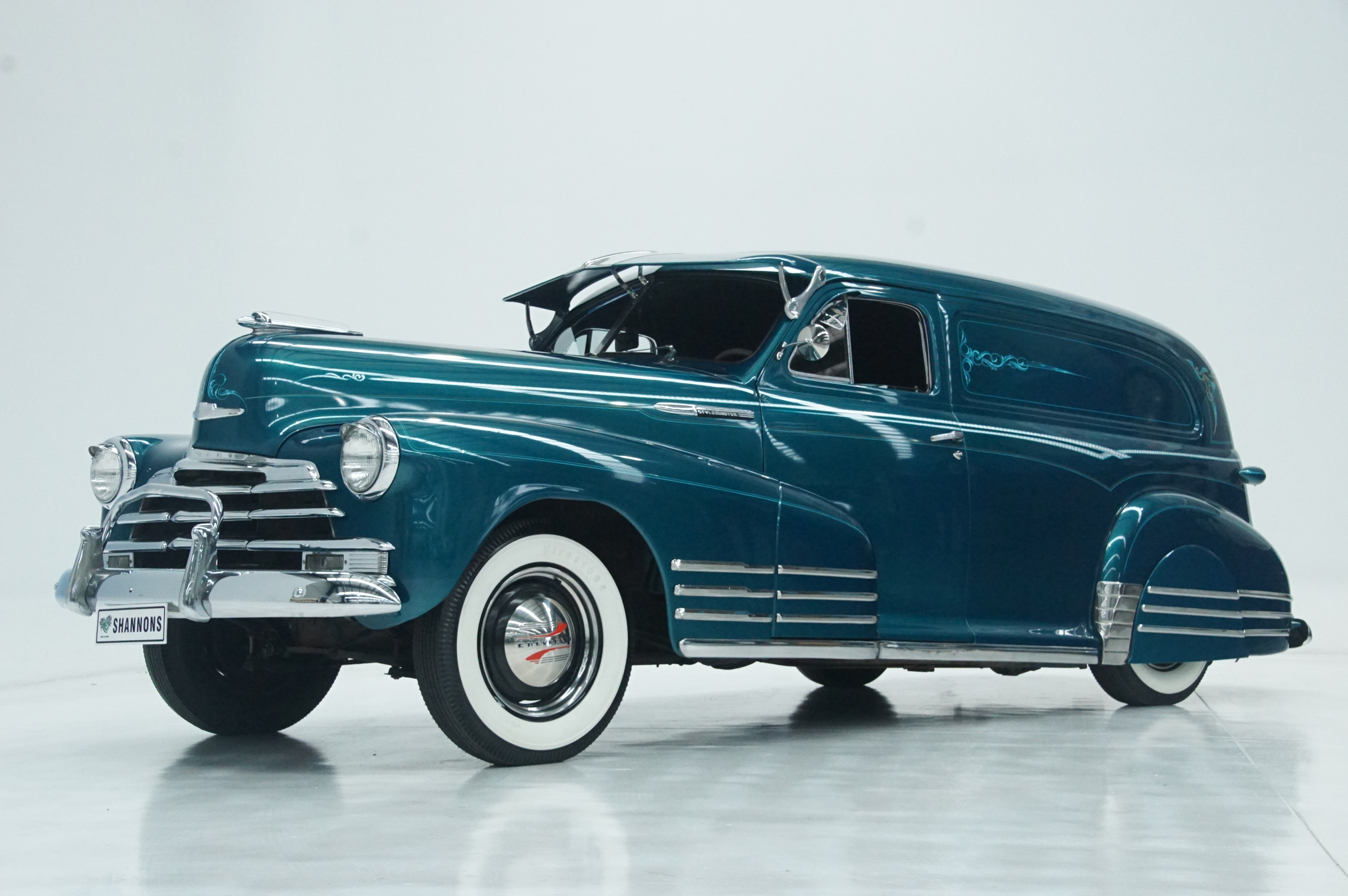 This stylish, US-built Custom 1948 Chevrolet Stylemaster Sedan Delivery Van, with its stock body enhanced by a number of custom accessories is expected to bring $45,000-$50,000 at Shannons Timed Online Auction, which runs from May 20 until June 3.